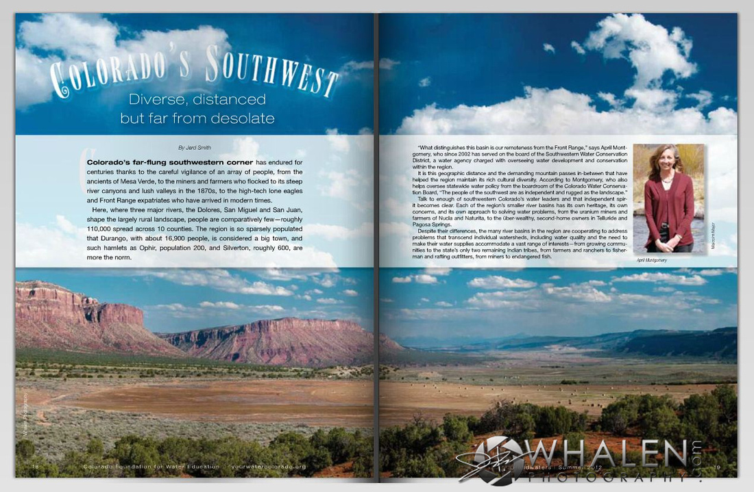 Two page magazine spread from Colorado Foundation for Water Educations summer 2012 issue of Headwaters Magazine