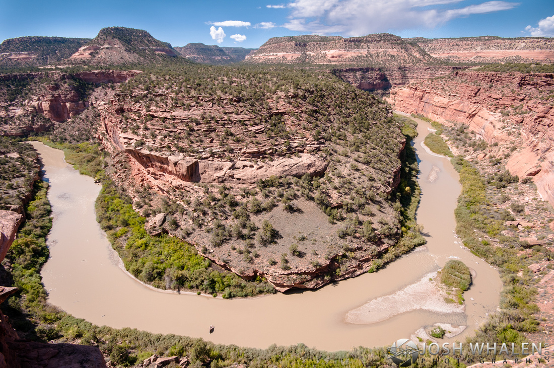 The Dolores River forms a horseshoe bend near Paradox, CO.