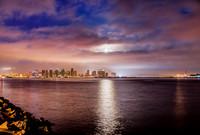 A Perigee Moon, aka Super Moon, rises above downtown San Diego, CA.